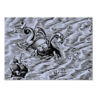 Arctic Sea Monster and Sailing Ship Blue World Map Poster
