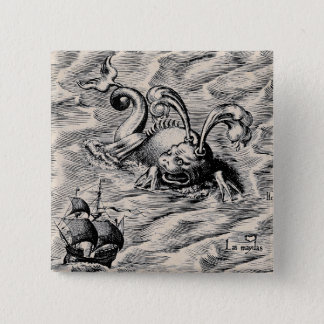 Arctic Sea Monster and Sailing Ship Button