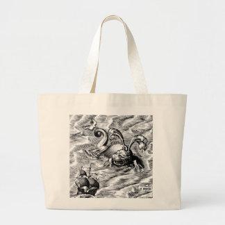 Arctic Sea Monster and Sailing Ship Large Tote Bag