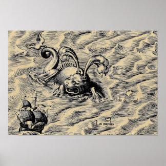 Arctic Sea Monster & Sailing Ship Sepia World Map Poster