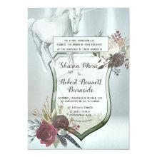 Arctic Silver Wedding Unicorn Invitation
