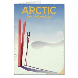 Arctic ski vintage adventure exploration poster card