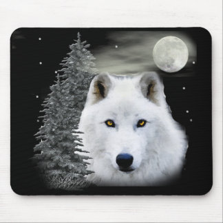 arctic snow wolf mouse pad