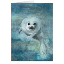 Arctic Swimmer Harp Seal Card