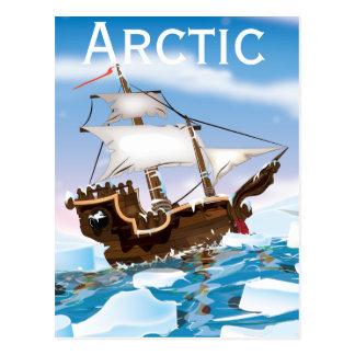 Arctic vintage cartoon travel poster postcards