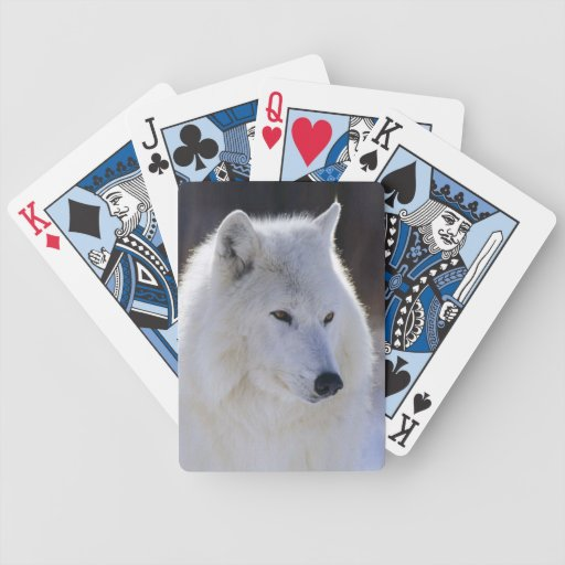 Arctic White Wolf Playing Cards