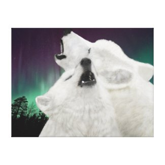Arctic White Wolves Stretched Canvas Print