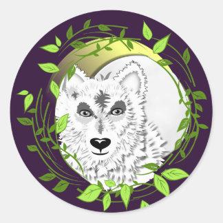 Arctic White Wolves Wild Animal Design Classic Round Sticker