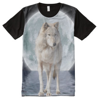 Arctic Wolf and Moon Wildlife Fantasy Art All-Over Print Shirt