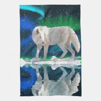 Arctic Wolf, Aurora & Falling Snow Wildlife Art Hand Towel