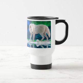 Arctic Wolf, Aurora & Snow Wildlife Art Coffee Mug