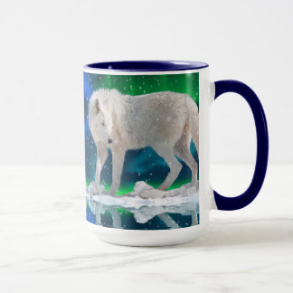 Arctic Wolf, Aurora & Snow Wildlife Art Coffee Mug