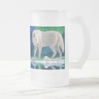 Arctic Wolf, Aurora & Snow Wildlife Art Drink Mug