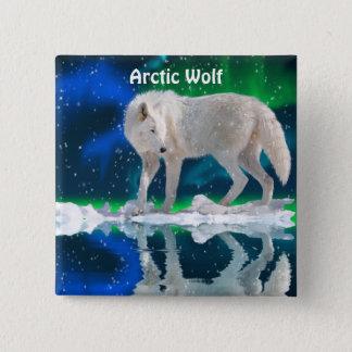 Arctic Wolf & Aurora Wildlife-supporter Button
