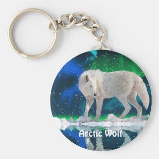 ARCTIC WOLF & Aurora Zipper Pull\Keychain Basic Round Button Keychain