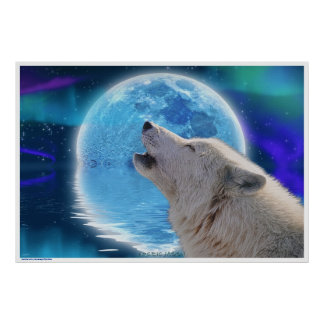 Arctic Wolf Howling at Aurora & Moon Wildlife Art Poster