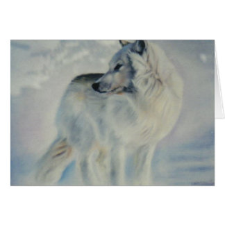 """Arctic Wolf in Winter"" Greeting Card"