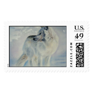 """Arctic Wolf in Winter"" Postage Stamp"