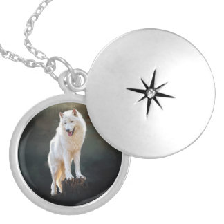 Arctic wolf locket necklace