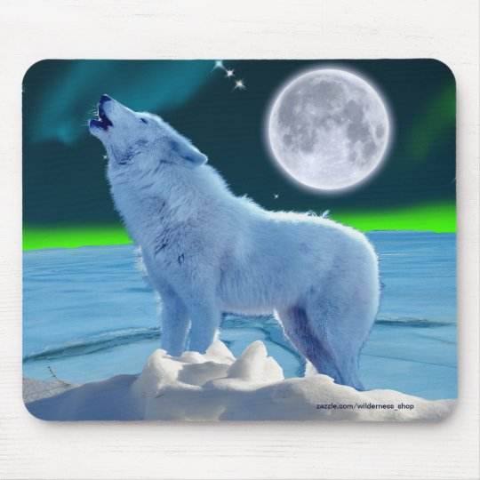 Arctic Wolf, Moon & Aurora Fantasy Mousepad