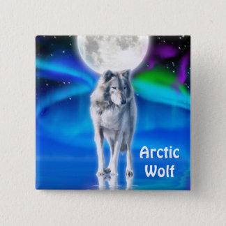 Arctic Wolf, Moon & Aurora Wildlife Button