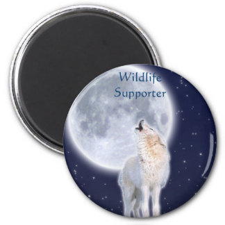 Arctic Wolf & Moon Wildlfie Supporter Art Magnet