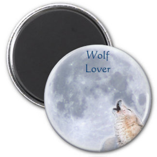 Arctic Wolf & Moon Wildlife Supporter Art Magnet