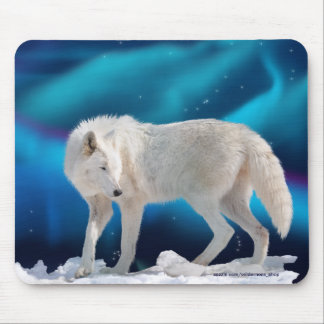 Arctic Wolf & Northern Lights II Fantasy Mousepad