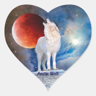 Arctic Wolf & Red Eclipsing Moon Heart Sticker