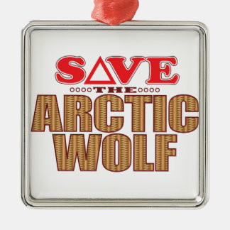Arctic Wolf Save Metal Ornament