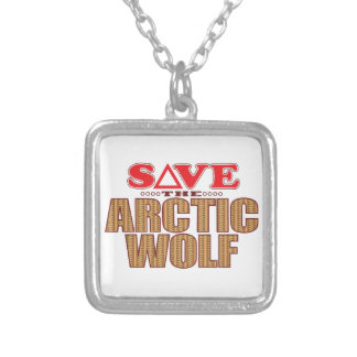 Arctic Wolf Save Silver Plated Necklace
