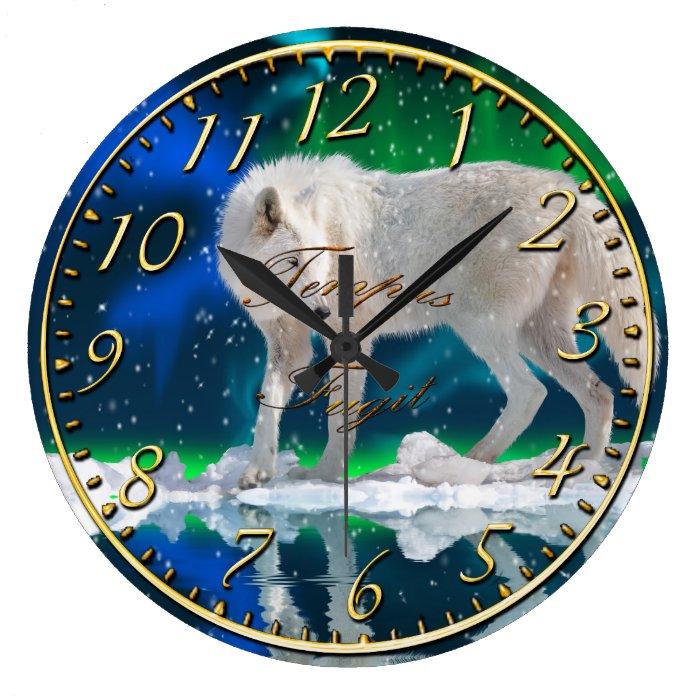 Arctic Wolf, Snow & Aurora Wildlife Art Clock