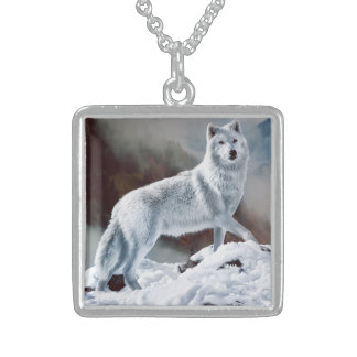 Arctic Wolf Sterling Silver Necklace