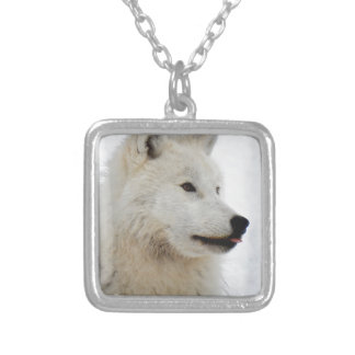 Arctic wolf sticking his tongue silver plated necklace