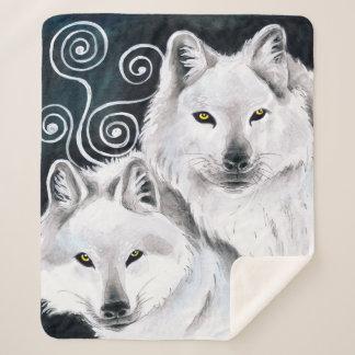Arctic Wolves Watercolor Sherpa Blanket