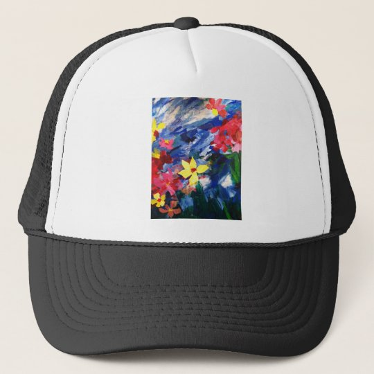 Arcylic Paper Collage Art Painting Trucker Hat