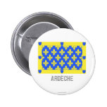 Ardèche flag with name 2 inch round button