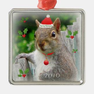 Ardilla 2010 de las Felices Navidad Adorno Cuadrado Plateado
