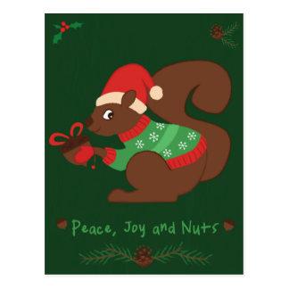 Ardilla acogedora del navidad postal