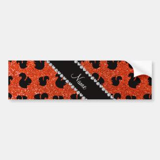 Ardilla anaranjada de neón conocida personalizada  etiqueta de parachoque