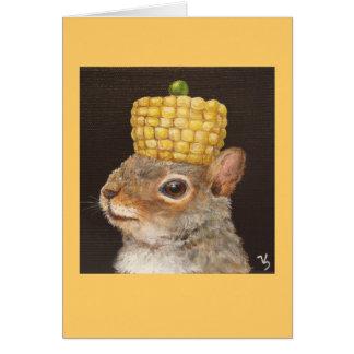 ardilla con el gorra del maíz y del guisante tarjeta de felicitación