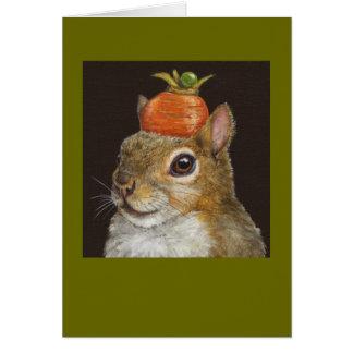 ardilla con la tarjeta de la zanahoria