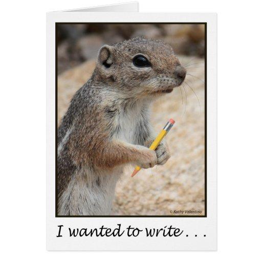 Ardilla con una tarjeta del lápiz