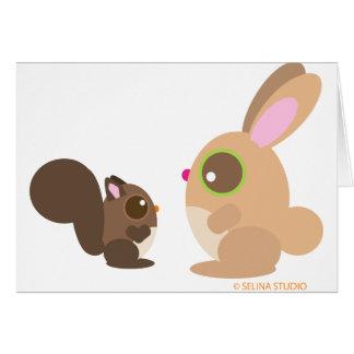ardilla+conejito tarjeta de felicitación