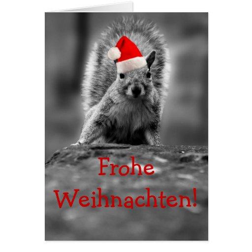 Ardilla de Frohe Weihnachten Santa Felicitaciones