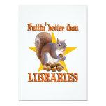 Ardilla de la biblioteca invitación 12,7 x 17,8 cm
