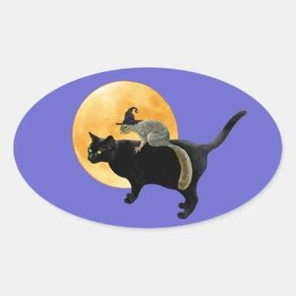 Ardilla de la bruja en el pegatina del gato