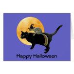 Ardilla de la bruja en la tarjeta de Halloween del
