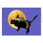 Ardilla de la bruja en tarjeta del gato