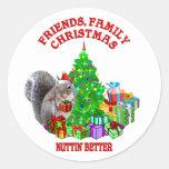 Ardilla de las felices Navidad Etiqueta Redonda